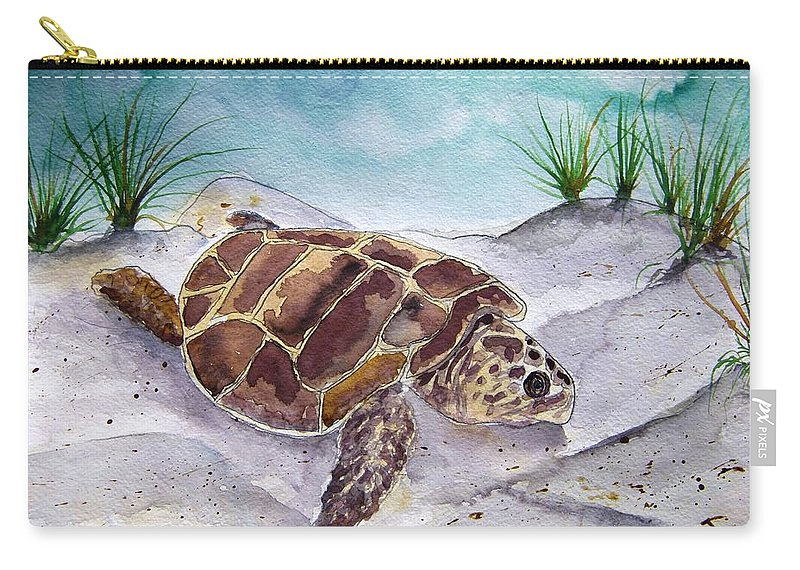 Sea Turtle Carry-all Pouch featuring the painting Sea Turtle 2 by Derek Mccrea
