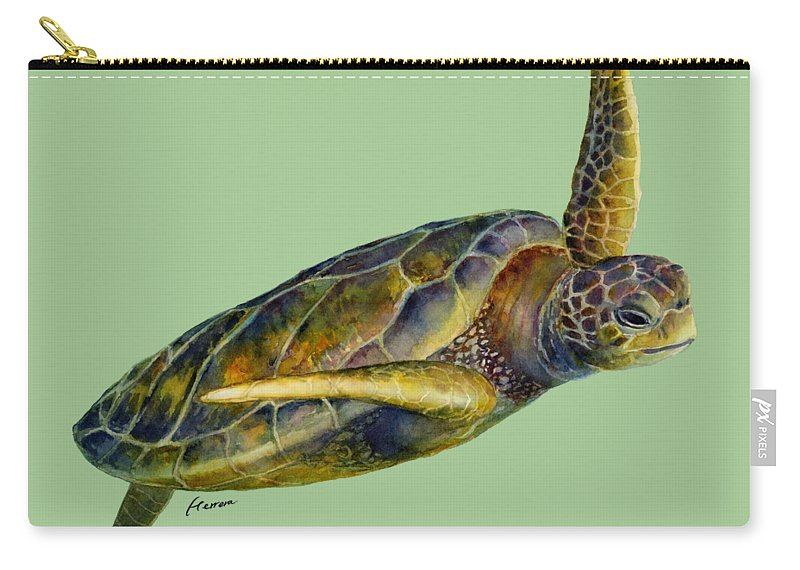 Underwater Carry-all Pouch featuring the painting Sea Turtle 2 by Hailey E Herrera