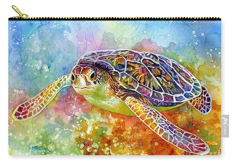 Turtle Carry-all Pouch featuring the painting Sea Turtle 3 by Hailey E Herrera