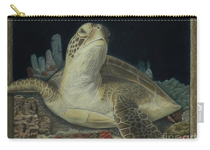 Colored Pencil Carry-all Pouch featuring the painting Sea Turtle by Jennifer Watson