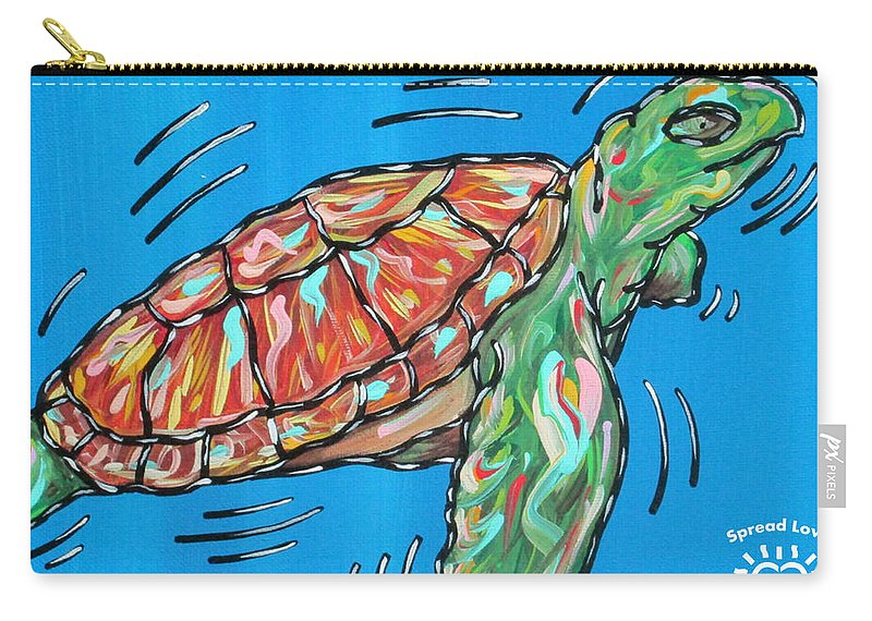 Abstract Carry-all Pouch featuring the painting Sea Turtle by Parker Beaudoin