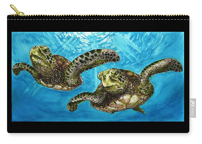 Turtles Carry-all Pouch featuring the painting Sea Turtles by Cherie Taylor