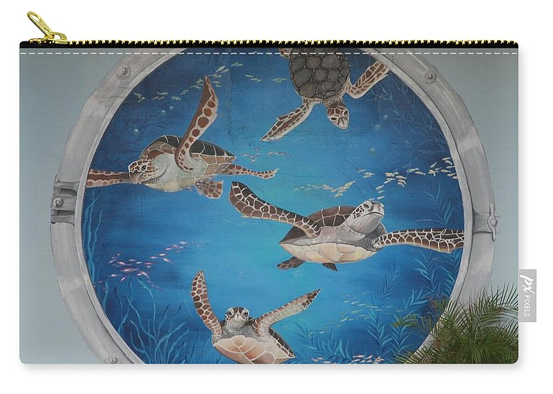 Sea Turtles Carry-all Pouch featuring the photograph Sea Turtles by Rob Hans