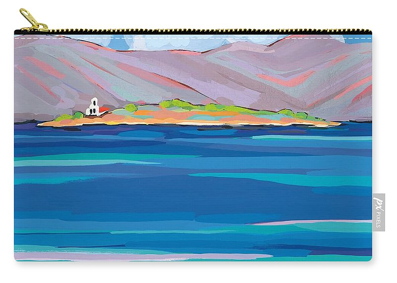 Coastal Carry-all Pouch featuring the painting Sea View Galaxidhi by Sarah Gillard