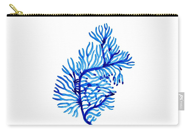 Blue Color Art Carry-all Pouch featuring the painting Sea Weed by Sweeping Girl