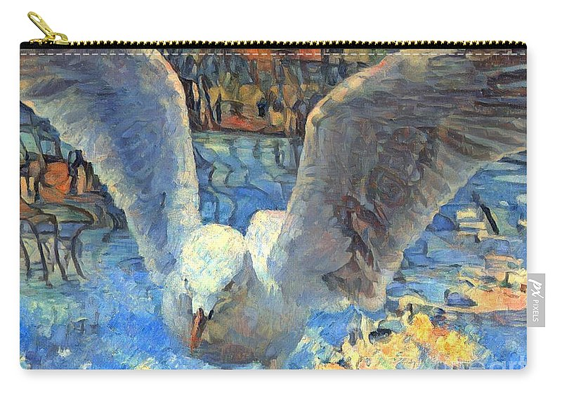 Seagull Abstract Carry-all Pouch featuring the mixed media Seagull Abstract by Trudee Hunter