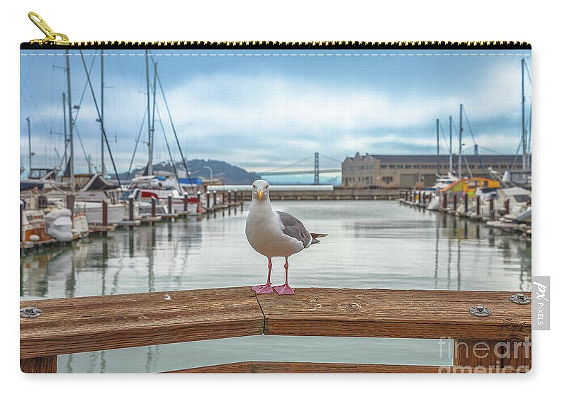 Seagull Carry-all Pouch featuring the photograph Seagull At Pier 39 by Benny Marty