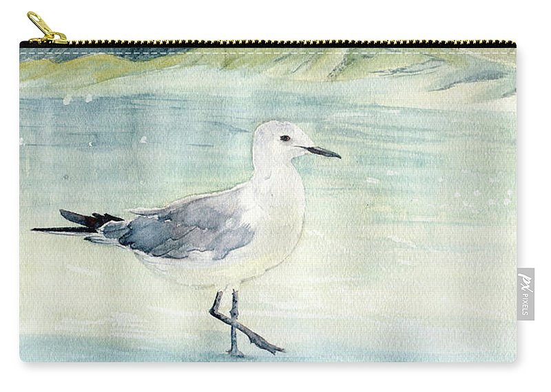 Seagull On The Beach Carry-all Pouch featuring the painting Seagull On The Beach by Melly Terpening