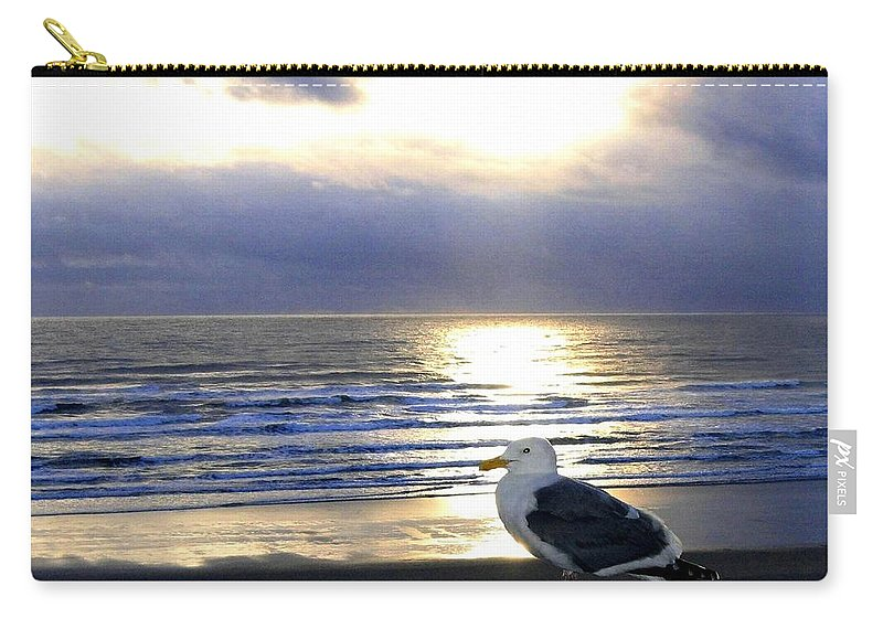 Seagull Carry-all Pouch featuring the photograph Seagull Sentinel by Will Borden