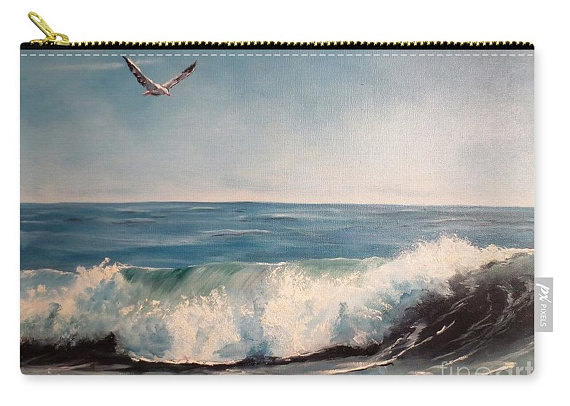Ocean Carry-all Pouch featuring the painting Seagull With Wave by Lee Piper