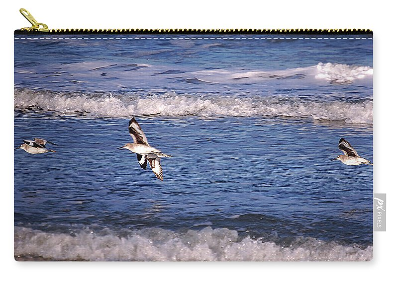 Seagulls Carry-all Pouch featuring the digital art Seagulls Above The Seashore by DigiArt Diaries by Vicky B Fuller