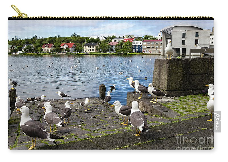 Above Carry-all Pouch featuring the photograph seagulls near a pond in the center of Reykjavik by Tetyana Ustenko