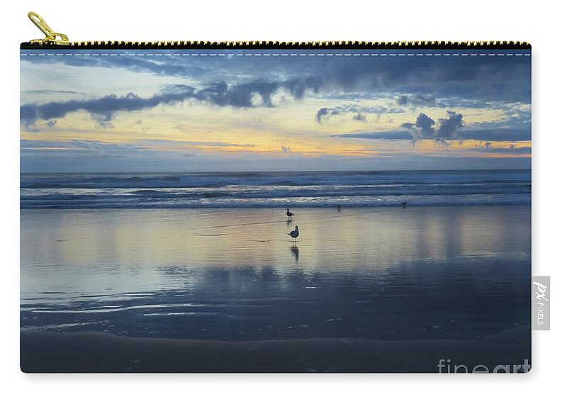 Seagulls Carry-all Pouch featuring the photograph Seagulls On Beach At Sunset by Mel Manning