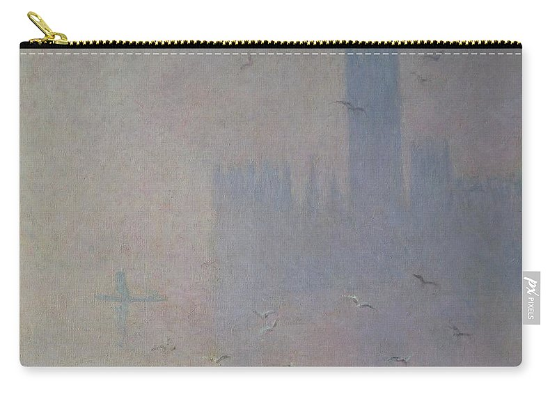 Claude Carry-all Pouch featuring the painting Seagulls Over The Houses Of Parliament by Claude Monet