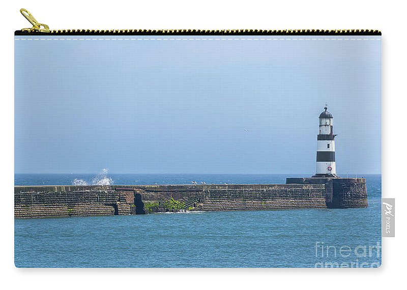 Seaham Lighthouse Carry-all Pouch featuring the photograph Seaham Lighthouse by Carol Herbert