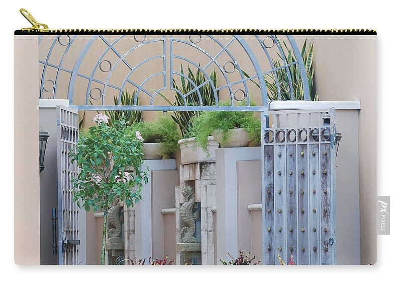 Architecture Carry-all Pouch featuring the photograph Seahorse Fountian by Rob Hans