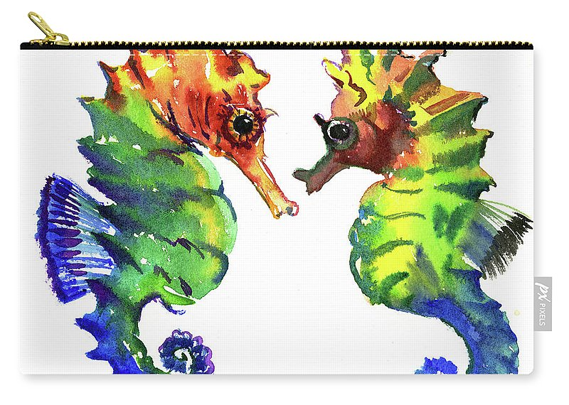 Seahorse Carry-all Pouch featuring the painting Seahorse Love by Suren Nersisyan