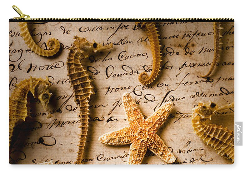 Seahorses Starfish Old Letter Words Carry-all Pouch featuring the photograph Seahorses And Starfish On Old Letter by Garry Gay