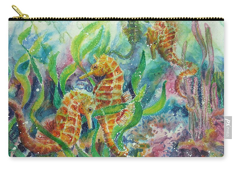 Seahorse Carry-all Pouch featuring the painting Seahorses Three by Deborah Younglao