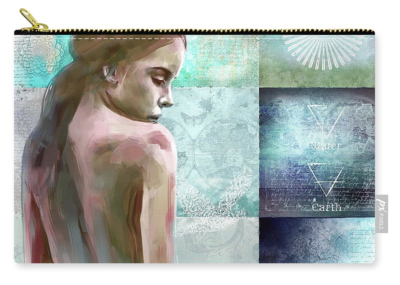 Spiritual.serene Carry-all Pouch featuring the mixed media Searching For Inner Peace by Jacky Gerritsen