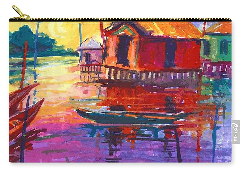 Water Carry-all Pouch featuring the painting Seascape by Okemakinde John abiodun