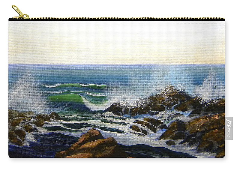 Seascape Carry-all Pouch featuring the painting Seascape Study 5 by Frank Wilson