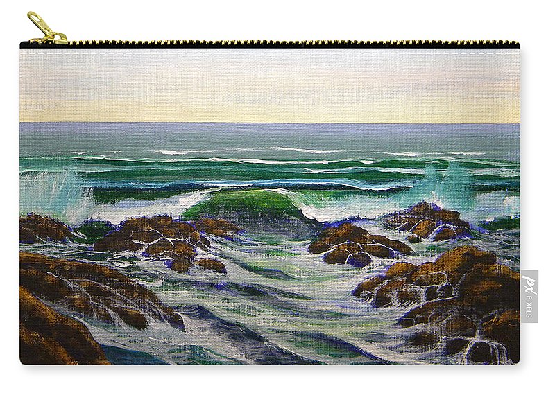 Seascape Carry-all Pouch featuring the painting Seascape Study 6 by Frank Wilson