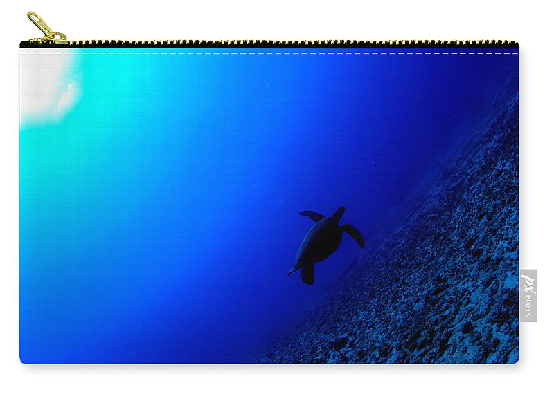 Carry-all Pouch featuring the photograph Seascape Turtle by Todd Hummel
