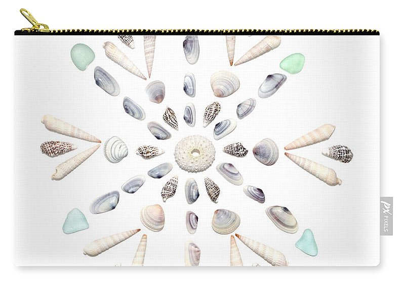 Seashell Carry-all Pouch featuring the photograph Seashell Snowflake 2 by Jennifer Booher