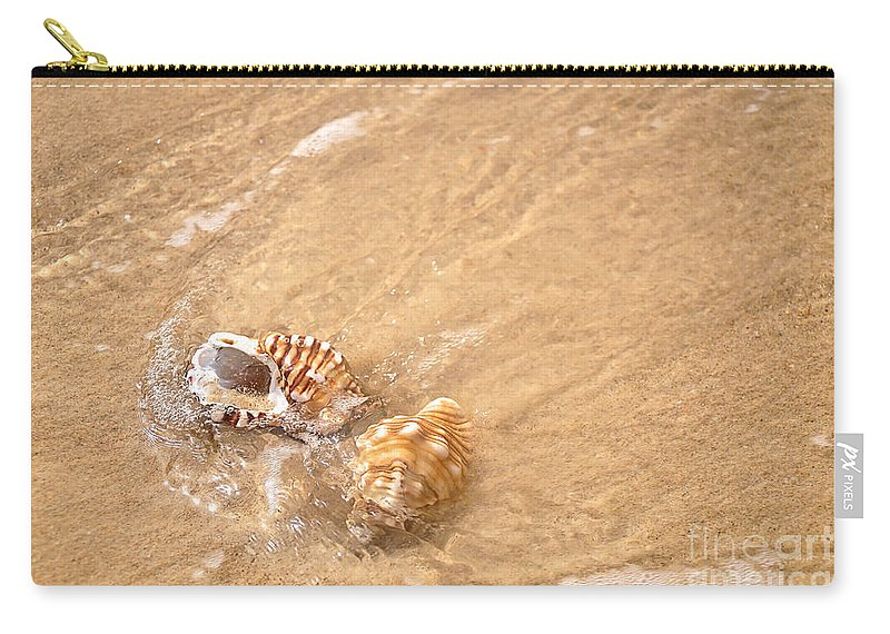 Photography Carry-all Pouch featuring the photograph Seashell Turbulence by Kaye Menner