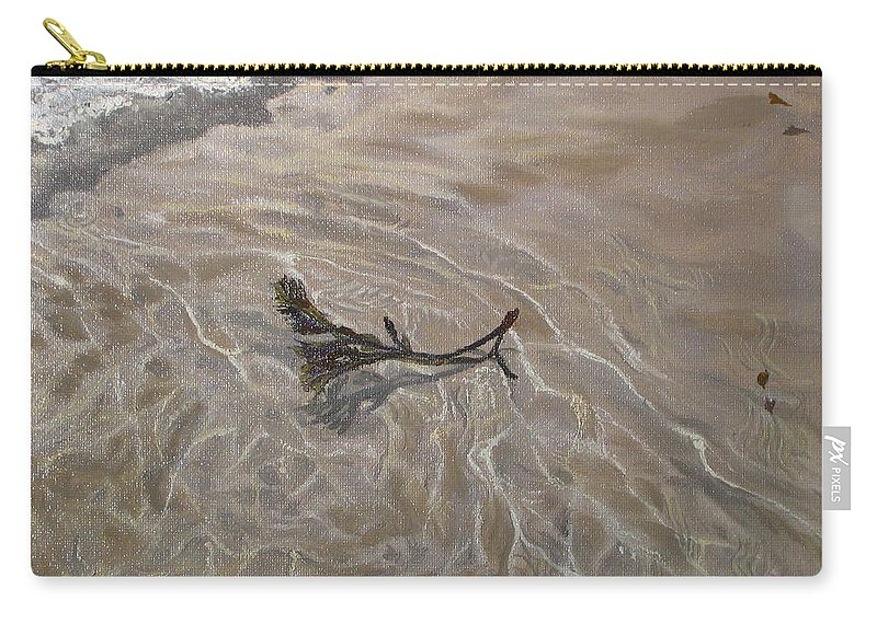 Seascape Carry-all Pouch featuring the painting Seashore Reflections by Lea Novak