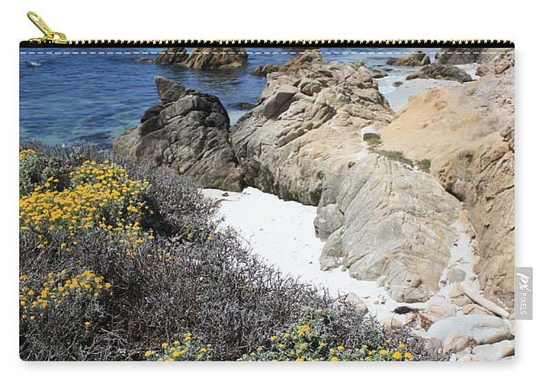 Landscape Carry-all Pouch featuring the photograph Seaside Flowers And Rocky Shore by Carol Groenen
