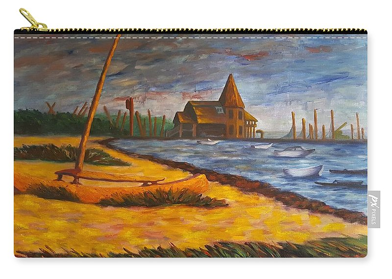 Marine Carry-all Pouch featuring the painting Seaside Park Nj Yacht Club by Joann Renner