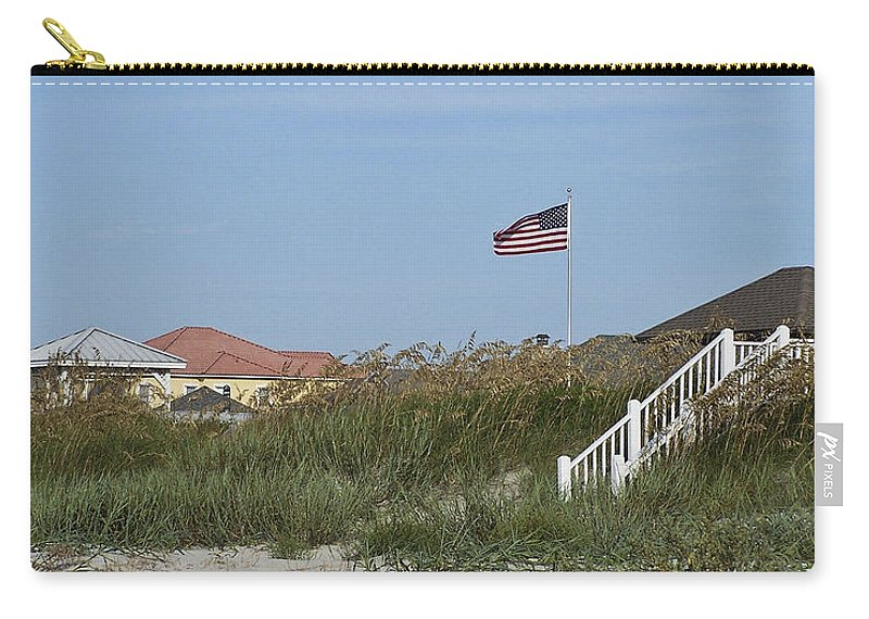 Ocean Carry-all Pouch featuring the photograph Seaside Patriotism by Teresa Mucha