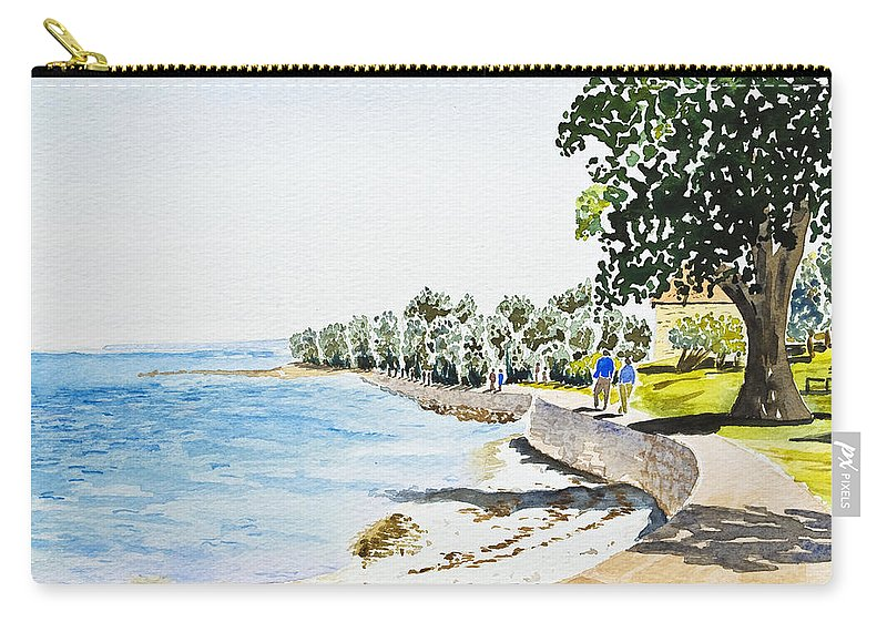 Beach Carry-all Pouch featuring the painting Seaside Town by Svetlana Sewell