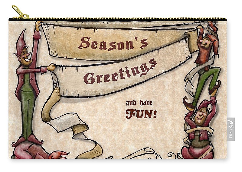 Season's Greetings Carry-all Pouch featuring the digital art Season's Greetings by Kevin Middleton