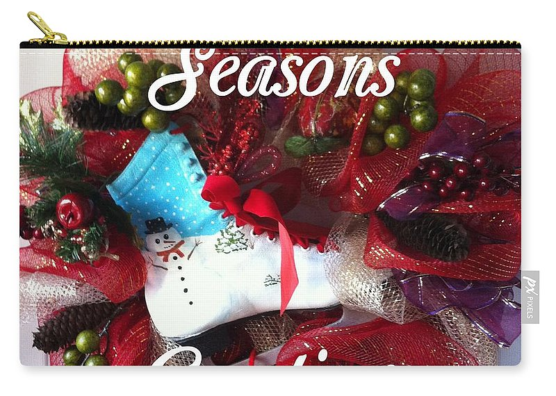 Seasons Greetings Old Skate Carry-all Pouch featuring the photograph Seasons Greetings Old Skate by Barbara Griffin