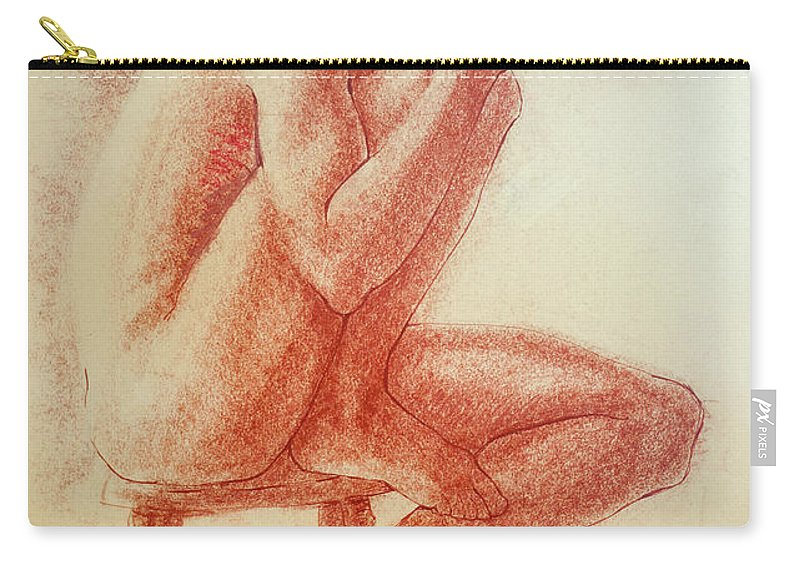 Figurative Carry-all Pouch featuring the drawing Seated At The Barre by Sarah Parks