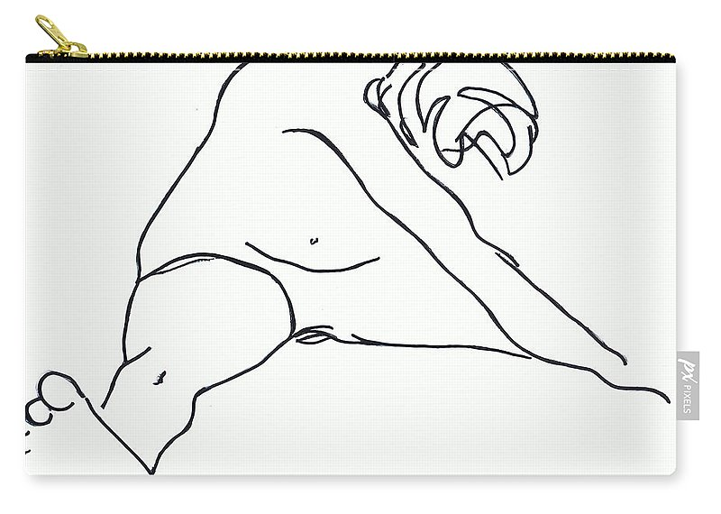 Figure Carry-all Pouch featuring the drawing Seated Figure by Nancy Mueller