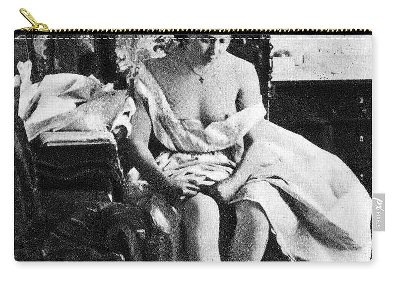 1861 Carry-all Pouch featuring the photograph Seated Nude, C1861 by Granger
