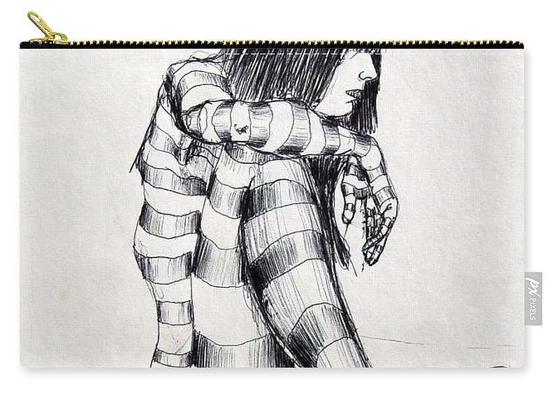 Ink Drawing Carry-all Pouch featuring the drawing Seated Striped Nude by Ron Bissett