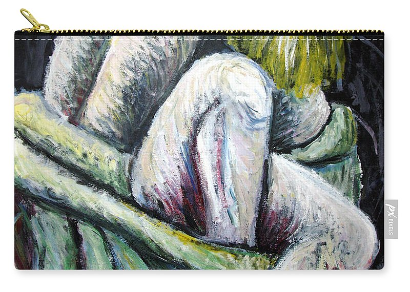 Woman Carry-all Pouch featuring the painting Seated Woman Abstract by Nancy Mueller