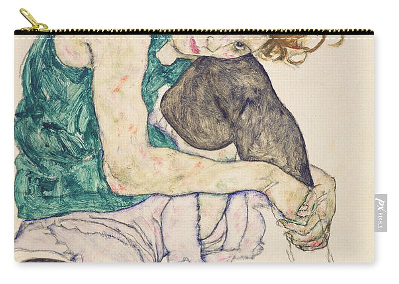 Egon Schiele Carry-all Pouch featuring the painting Seated Woman with Bent Knee by Egon Schiele