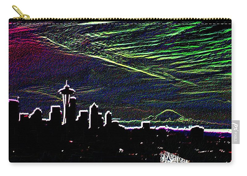Seattle Carry-all Pouch featuring the digital art Seattle And Da Mountain by Tim Allen