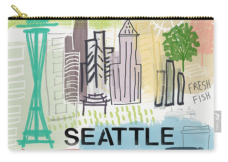 Seattle Carry-all Pouch featuring the painting Seattle Cityscape- Art By Linda Woods by Linda Woods