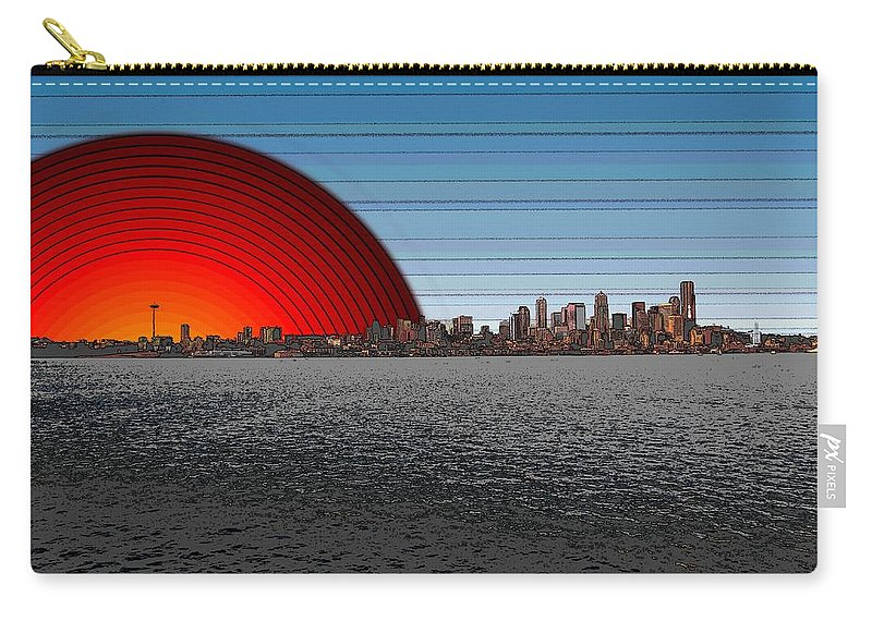 Seattle Carry-all Pouch featuring the digital art Seattle Dawning 2 by Tim Allen