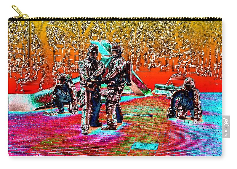 Seattle Carry-all Pouch featuring the digital art Seattle Fire Fighter Memorial by Tim Allen