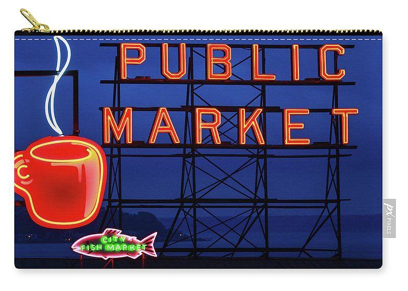 Neon Carry-all Pouch featuring the photograph Seattle Glow by Todd Klassy