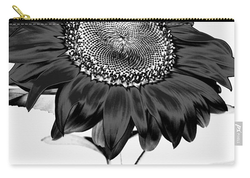 Black And White Photography Carry-all Pouch featuring the photograph Seattle Sunflower Bw Invert - Stronger by Heather Kirk