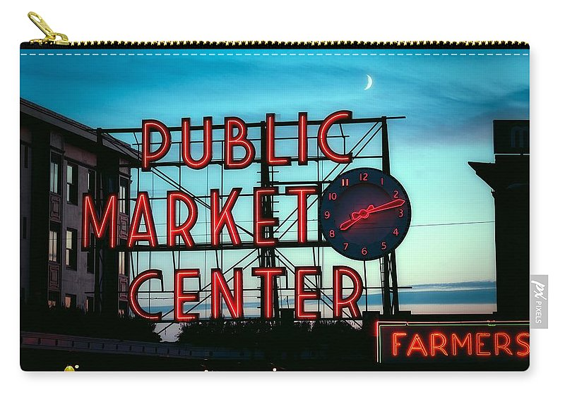 Seattle Carry-all Pouch featuring the photograph Seattle's Public Market Center At Sunset by Mountain Dreams